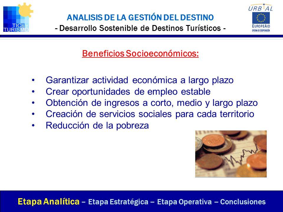 ANALISIS DE LA GESTIÓN DEL DESTINO - Desarrollo Sostenible de Destinos Turísticos - Beneficios Socioeconómicos: Etapa Analítica – Etapa Estratégica –