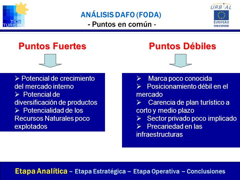 ANÁLISIS DAFO (FODA) - Puntos en común - Etapa Analítica – Etapa Estratégica – Etapa Operativa – Conclusiones Potencial de crecimiento del mercado int