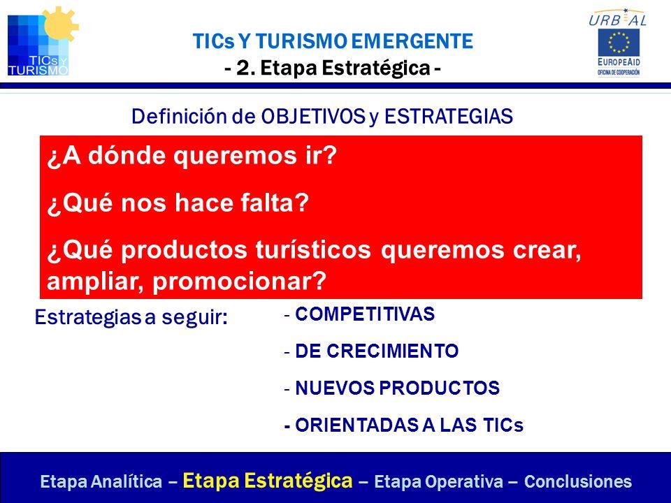 TICs Y TURISMO EMERGENTE - 2. Etapa Estratégica - Definición de OBJETIVOS y ESTRATEGIAS Estrategias a seguir: - ORIENTADAS A LAS TICs Etapa Analítica