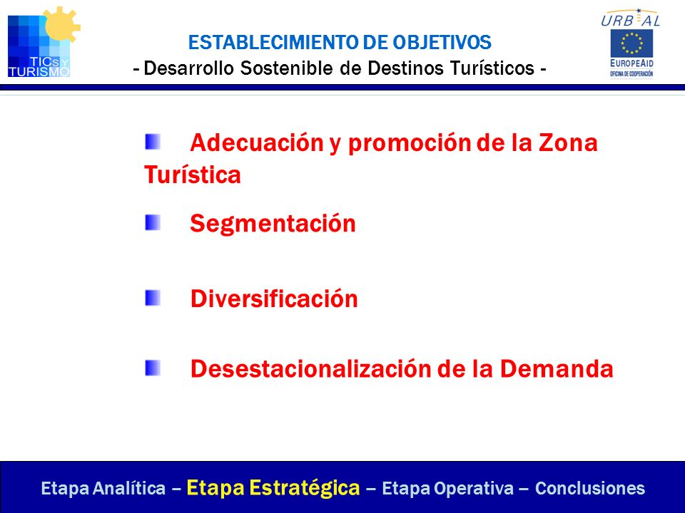ESTABLECIMIENTO DE OBJETIVOS - Desarrollo Sostenible de Destinos Turísticos - Etapa Analítica – Etapa Estratégica – Etapa Operativa – Conclusiones Seg