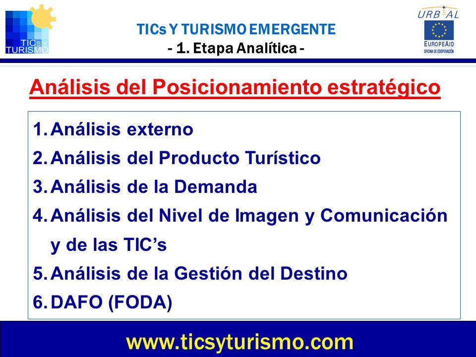 TICs Y TURISMO EMERGENTE - Análisis del Posicionamiento estratégico - 1.Mercado Turístico 2.La Competencia 3.El Sector 4.El Entorno (factor fuera de control):· Político – Legal · Económico · Sociocultural · Tecnológico Analizar el Núcleo Emisor cercano más importante: DAFO (FODA): ¿Qué tiene.