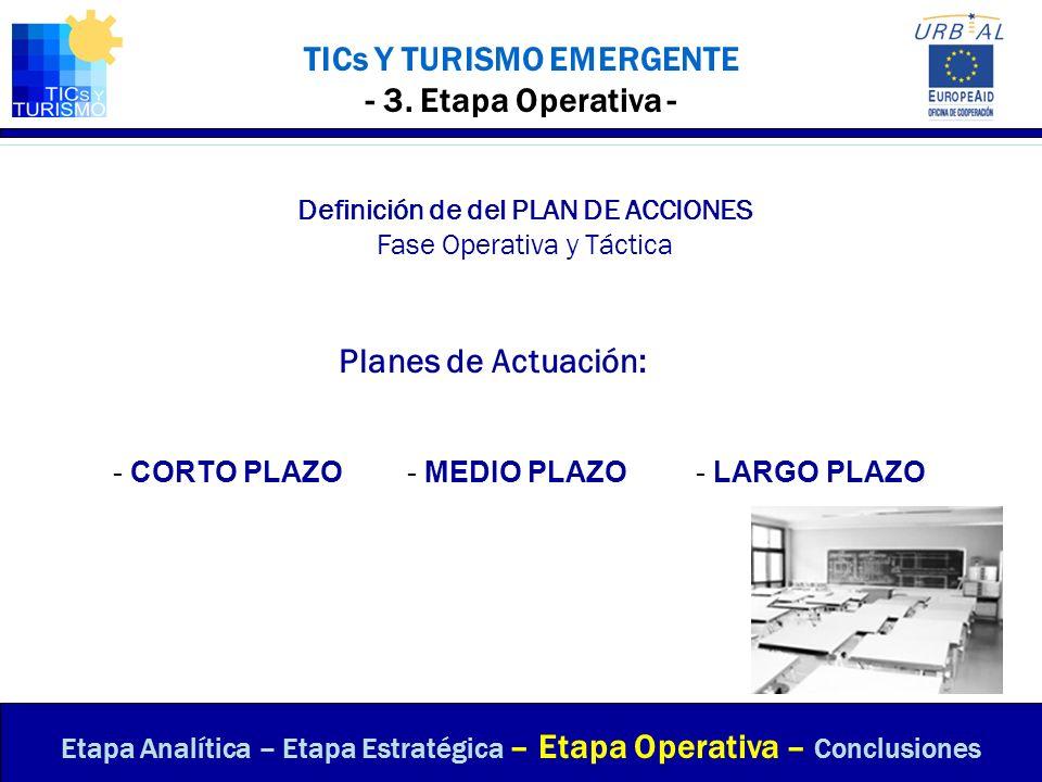 TICs Y TURISMO EMERGENTE - 3. Etapa Operativa - Definición de del PLAN DE ACCIONES Fase Operativa y Táctica Planes de Actuación: Etapa Analítica – Eta