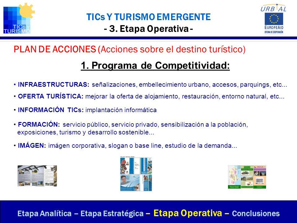 TICs Y TURISMO EMERGENTE - 3. Etapa Operativa - PLAN DE ACCIONES (Acciones sobre el destino turístico) Etapa Analítica – Etapa Estratégica – Etapa Ope