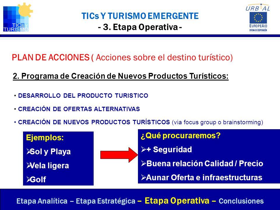 TICs Y TURISMO EMERGENTE - 3. Etapa Operativa - PLAN DE ACCIONES ( Acciones sobre el destino turístico) Etapa Analítica – Etapa Estratégica – Etapa Op