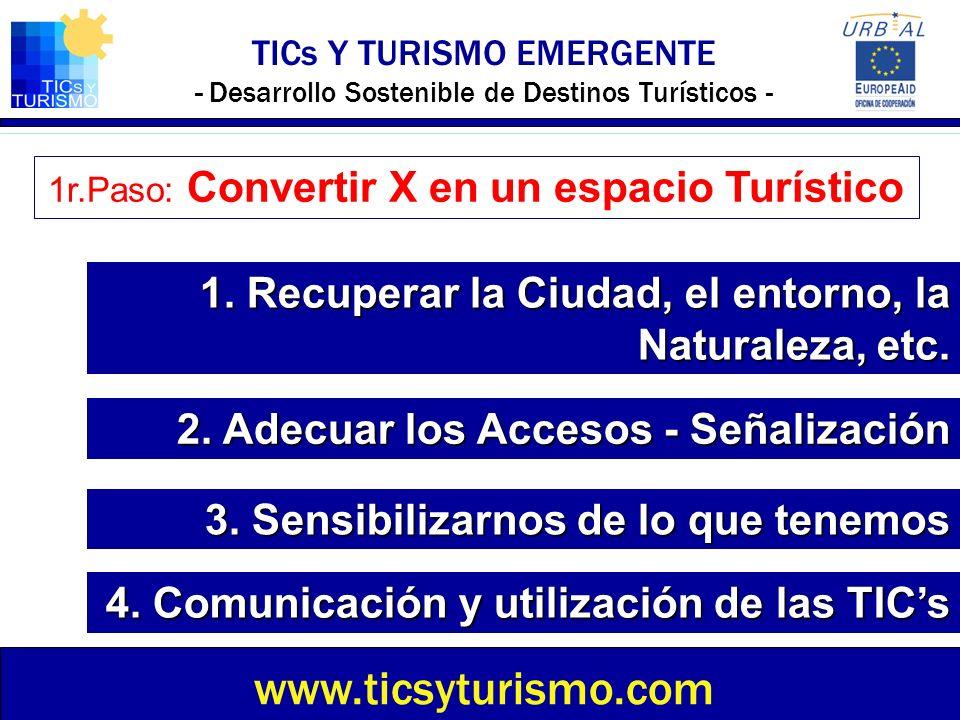 TICs Y TURISMO EMERGENTE - Desarrollo Sostenible de Destinos Turísticos - www.ticsyturismo.com 1r.Paso: Convertir X en un espacio Turístico 1. Recuper