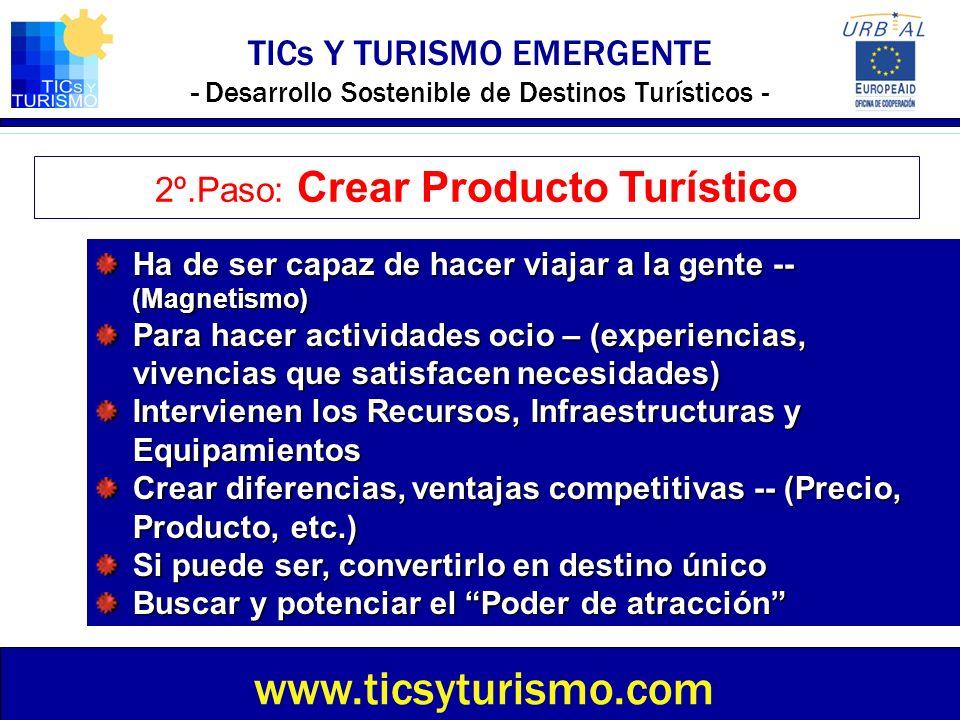 TICs Y TURISMO EMERGENTE - Desarrollo Sostenible de Destinos Turísticos - www.ticsyturismo.com 2º.Paso: Crear Producto Turístico Ha de ser capaz de ha