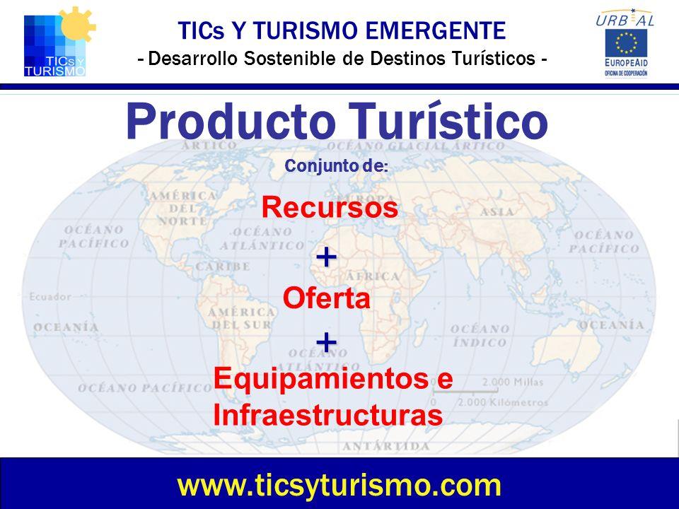 TICs Y TURISMO EMERGENTE - Desarrollo Sostenible de Destinos Turísticos - Producto Turístico Conjunto de: www.ticsyturismo.com Recursos Oferta Equipam