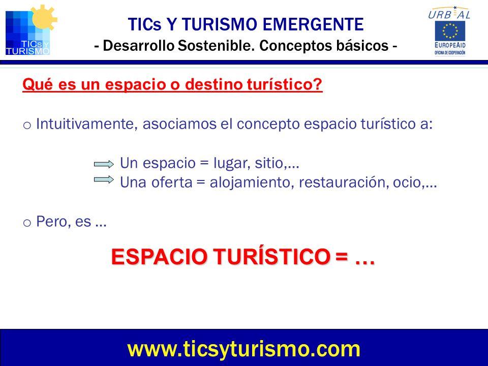 TICs Y TURISMO EMERGENTE - Desarrollo Sostenible. Conceptos básicos - www.ticsyturismo.com Qué es un espacio o destino turístico? o Intuitivamente, as
