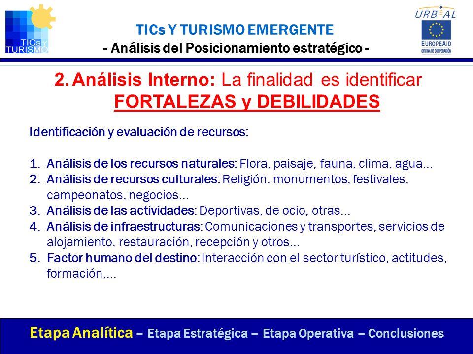 TICs Y TURISMO EMERGENTE - Análisis del Posicionamiento estratégico - Identificación y evaluación de recursos: 1.Análisis de los recursos naturales: F