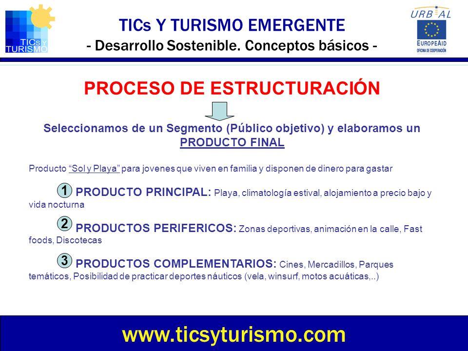 TICs Y TURISMO EMERGENTE - Desarrollo Sostenible. Conceptos básicos - www.ticsyturismo.com PROCESO DE ESTRUCTURACIÓN Seleccionamos de un Segmento (Púb