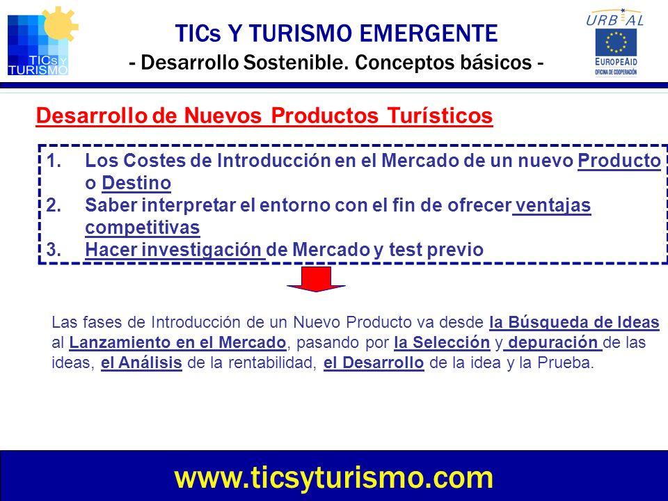 TICs Y TURISMO EMERGENTE - Desarrollo Sostenible. Conceptos básicos - www.ticsyturismo.com Desarrollo de Nuevos Productos Turísticos Las fases de Intr