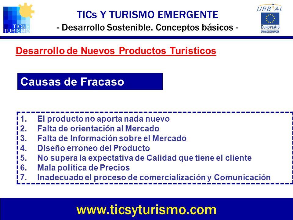 TICs Y TURISMO EMERGENTE - Desarrollo Sostenible. Conceptos básicos - www.ticsyturismo.com Desarrollo de Nuevos Productos Turísticos 1.El producto no