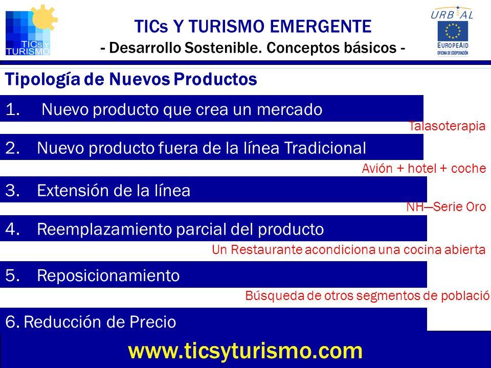 1. Nuevo producto que crea un mercado TICs Y TURISMO EMERGENTE - Desarrollo Sostenible. Conceptos básicos - www.ticsyturismo.com Tipología de Nuevos P