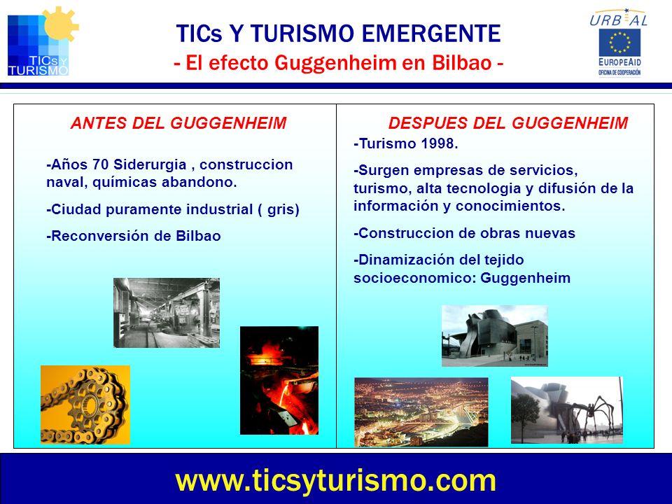 TICs Y TURISMO EMERGENTE - El efecto Guggenheim en Bilbao - www.ticsyturismo.com ANTES DEL GUGGENHEIMDESPUES DEL GUGGENHEIM -Años 70 Siderurgia, const
