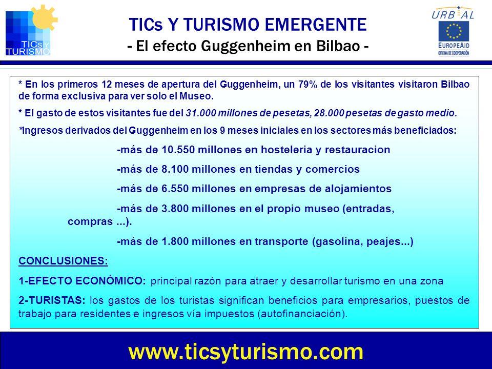 TICs Y TURISMO EMERGENTE - El efecto Guggenheim en Bilbao - www.ticsyturismo.com * En los primeros 12 meses de apertura del Guggenheim, un 79% de los