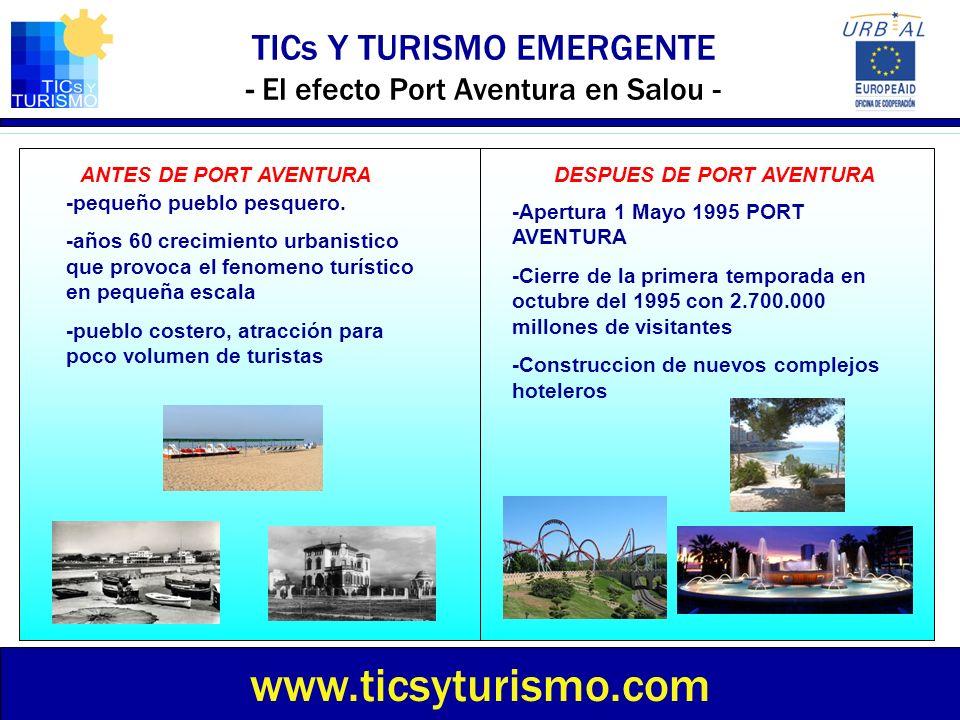 TICs Y TURISMO EMERGENTE - El efecto Port Aventura en Salou - www.ticsyturismo.com ANTES DE PORT AVENTURADESPUES DE PORT AVENTURA -pequeño pueblo pesq