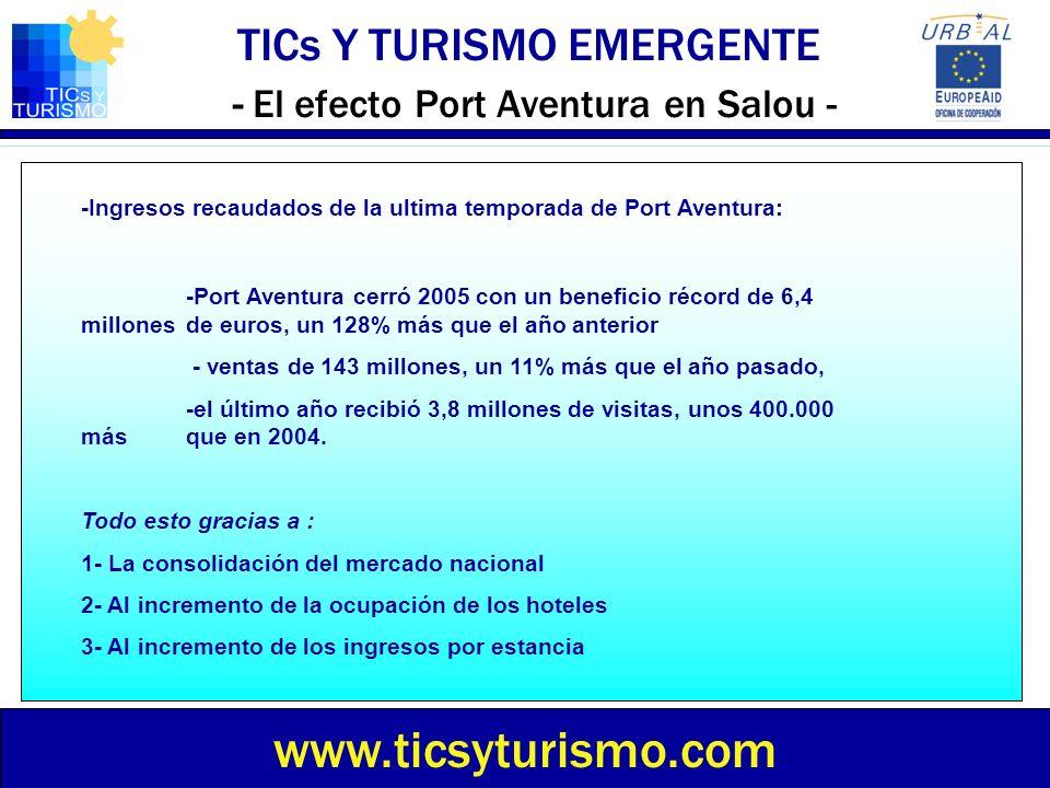 TICs Y TURISMO EMERGENTE - El efecto Port Aventura en Salou - www.ticsyturismo.com -Ingresos recaudados de la ultima temporada de Port Aventura: -Port