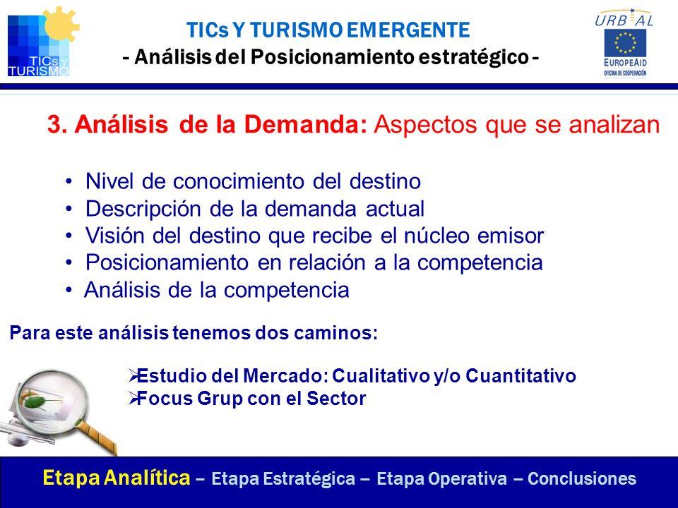 ANÁLISIS DAFO (FODA) - Puntos en común - Etapa Analítica – Etapa Estratégica – Etapa Operativa – Conclusiones Inestabilidad socioeconómica Alta dependencia de pocos segmentos de mercado Oferta poco diversificada Inseguridad para el turista Amenazas Oportunidades Destinos novedosos Potencialidad en nuevos productos Posibilidad de desarrollo de la oferta turística Evolución en las comunicaciones (TICs) Concurrencia de Focos de atracción cercanos