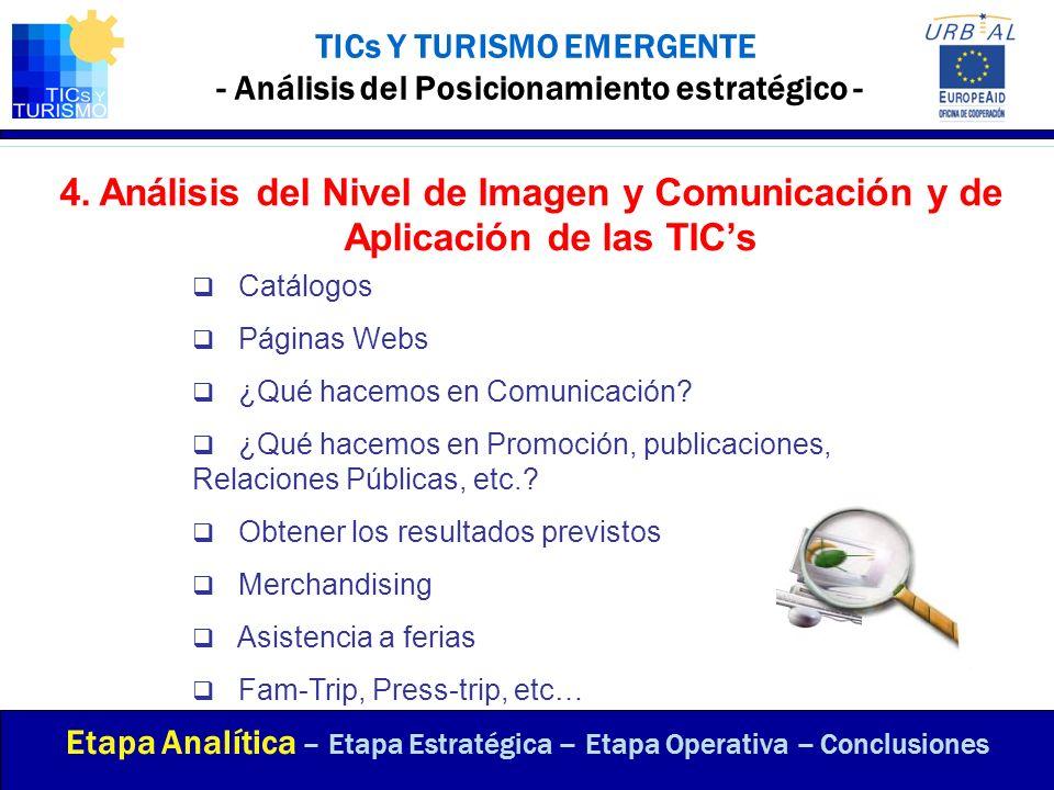 4.Análisis del Nivel de Imagen y Comunicación y de Aplicación de las TICs TICs Y TURISMO EMERGENTE - Análisis del Posicionamiento estratégico - Etapa