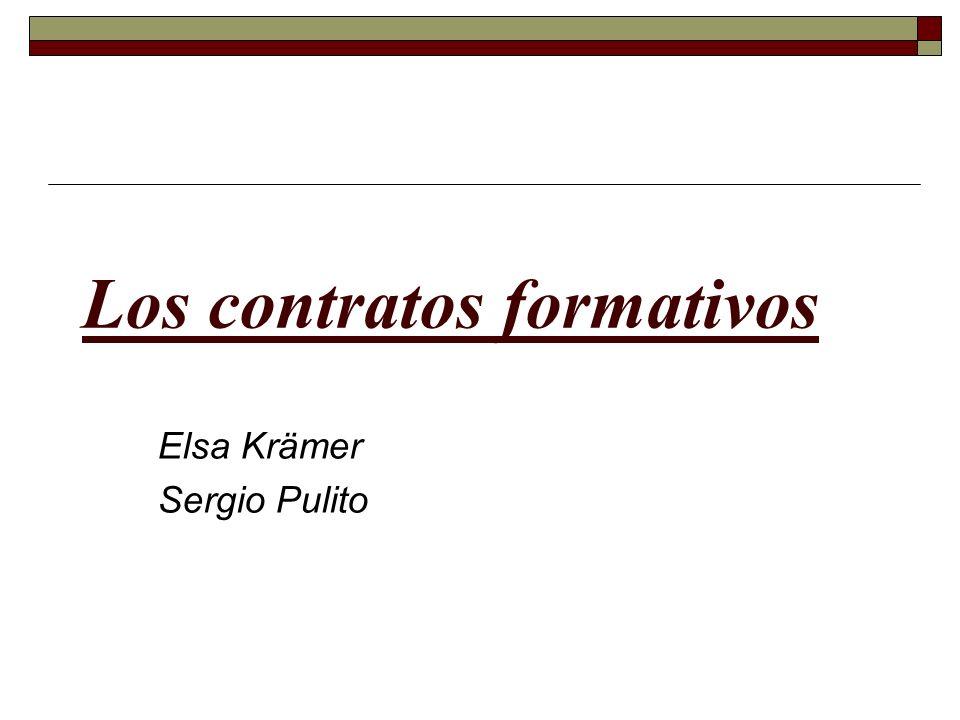 Los contratos formativos Elsa Krämer Sergio Pulito