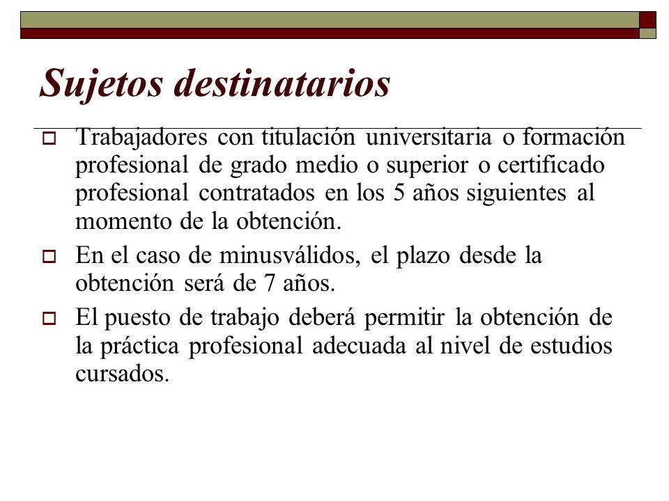 Sujetos destinatarios Trabajadores con titulación universitaria o formación profesional de grado medio o superior o certificado profesional contratado