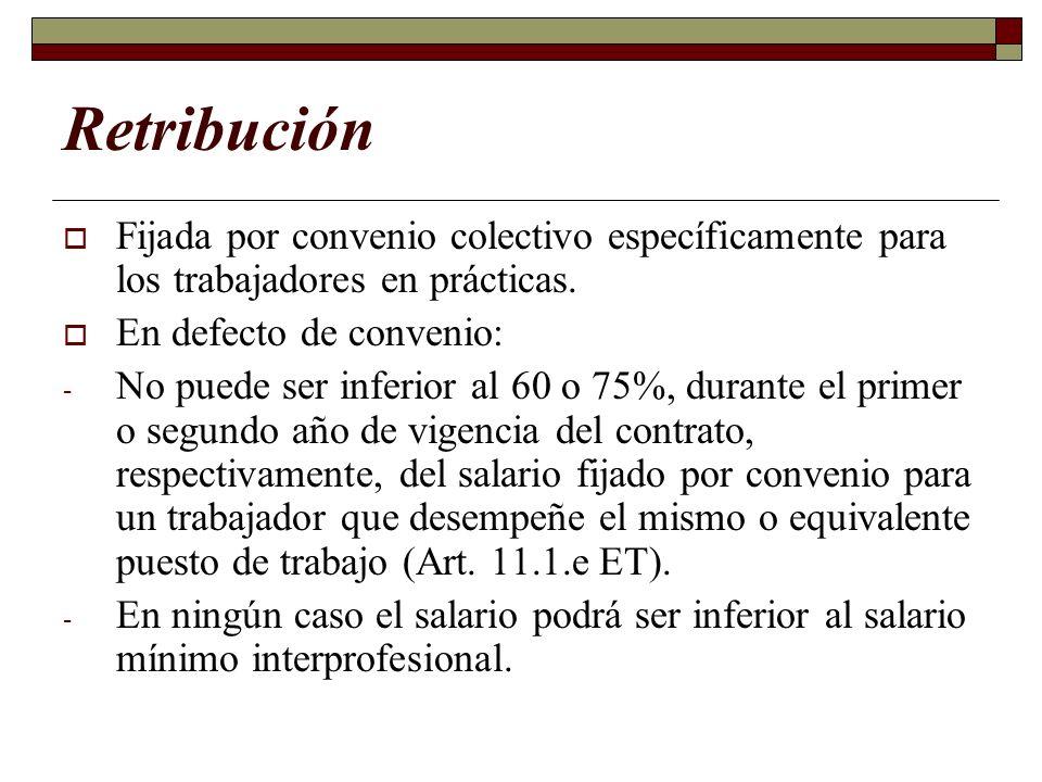 Retribución Fijada por convenio colectivo específicamente para los trabajadores en prácticas. En defecto de convenio: - No puede ser inferior al 60 o