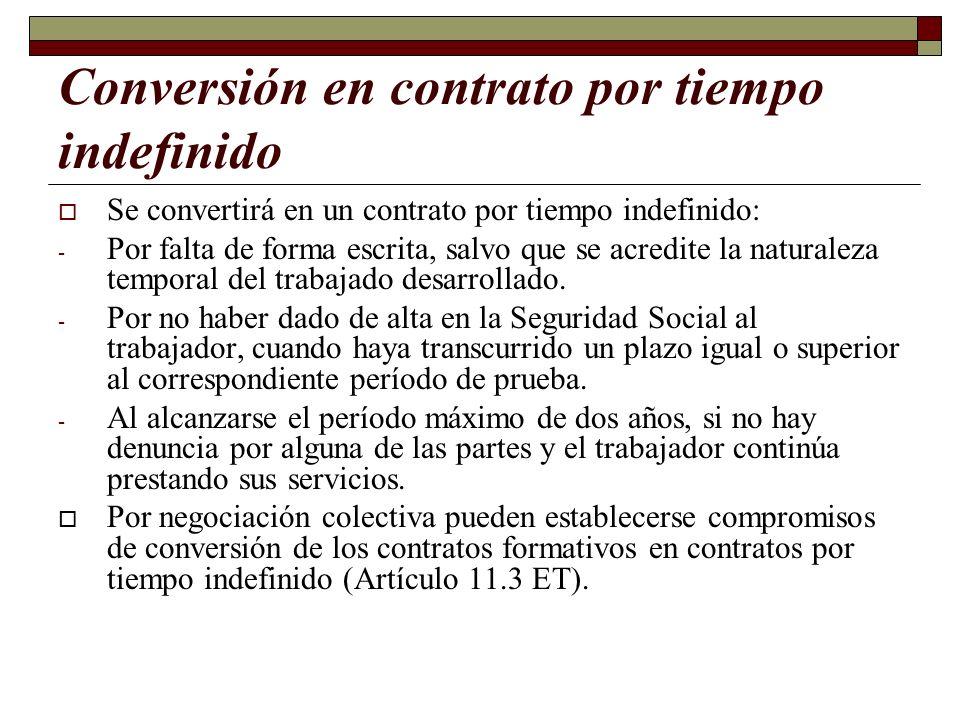 Conversión en contrato por tiempo indefinido Se convertirá en un contrato por tiempo indefinido: - Por falta de forma escrita, salvo que se acredite l