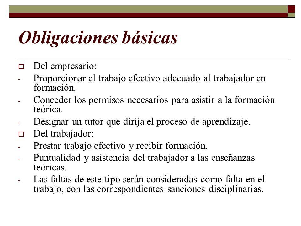 Obligaciones básicas Del empresario: - Proporcionar el trabajo efectivo adecuado al trabajador en formación. - Conceder los permisos necesarios para a