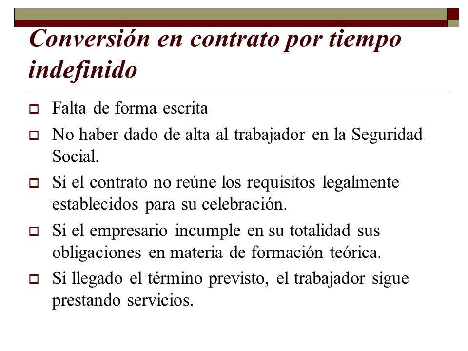 Conversión en contrato por tiempo indefinido Falta de forma escrita No haber dado de alta al trabajador en la Seguridad Social. Si el contrato no reún