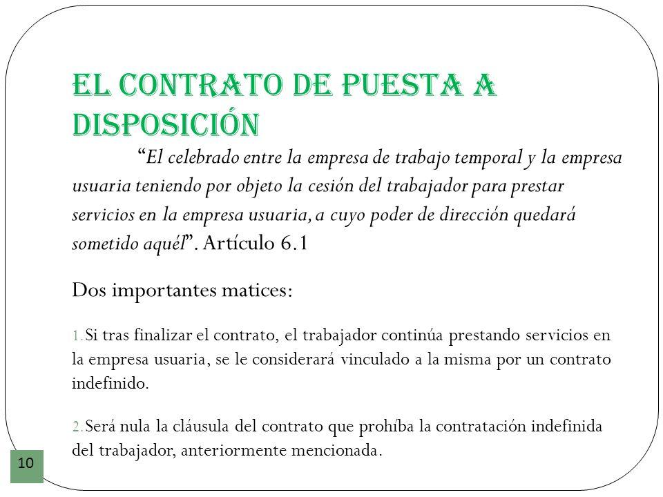 El contrato de puesta a disposición 10 El celebrado entre la empresa de trabajo temporal y la empresa usuaria teniendo por objeto la cesión del trabaj