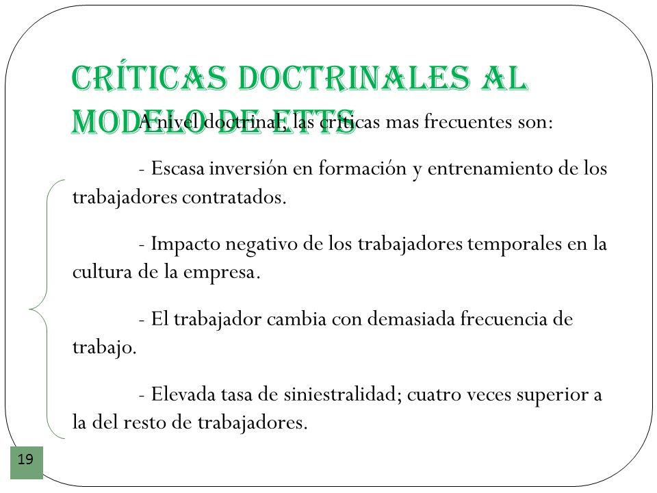 Críticas doctrinales al modelo de ETTs 19 A nivel doctrinal, las criticas mas frecuentes son: - Escasa inversión en formación y entrenamiento de los t