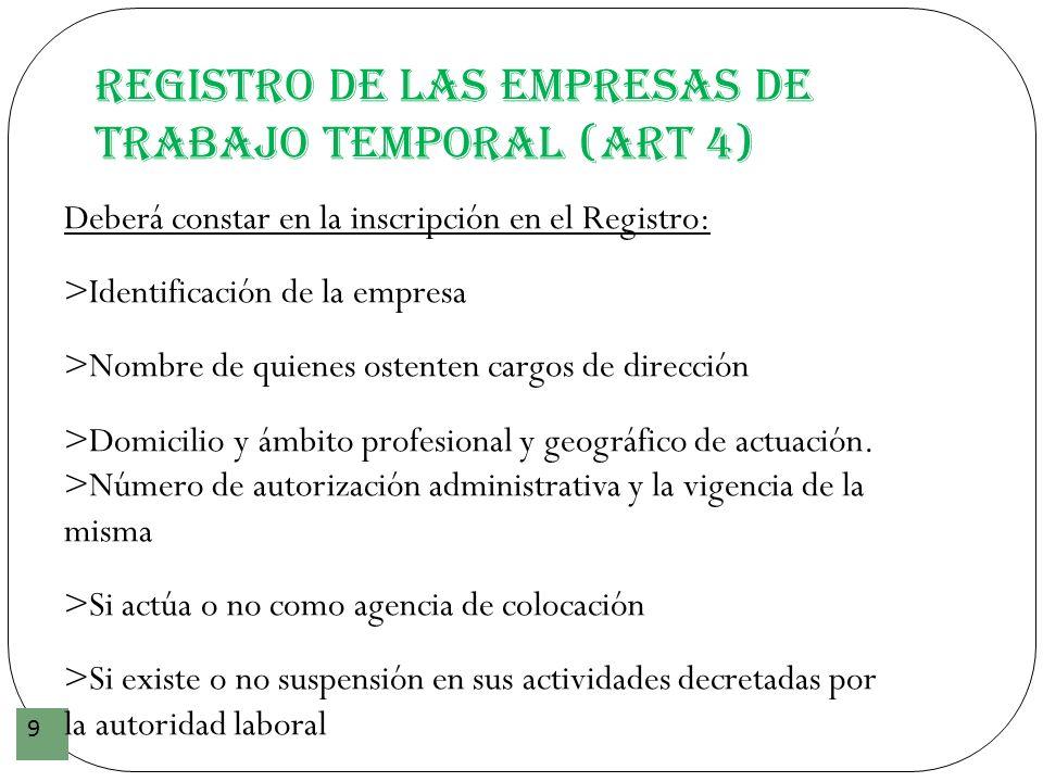 Registro de las Empresas de Trabajo Temporal (art 4) 9 Deberá constar en la inscripción en el Registro: >Identificación de la empresa >Nombre de quien