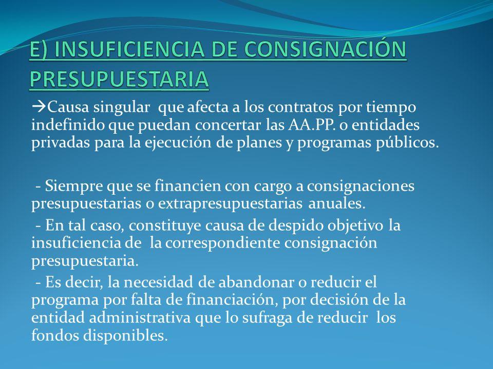 Causa singular que afecta a los contratos por tiempo indefinido que puedan concertar las AA.PP. o entidades privadas para la ejecución de planes y pro