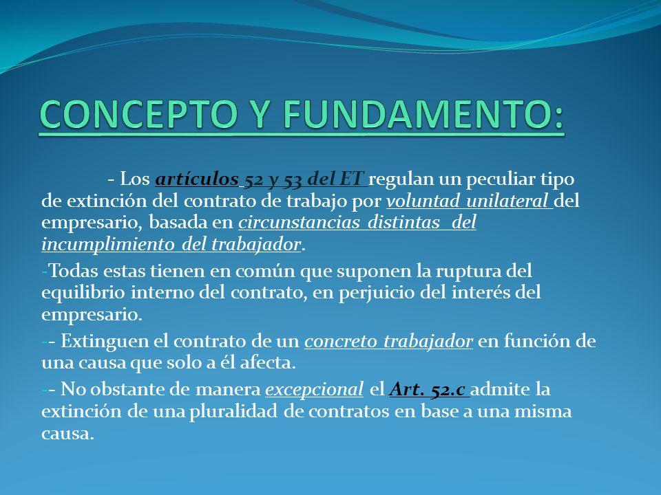 - Los artículos 52 y 53 del ET regulan un peculiar tipo de extinción del contrato de trabajo por voluntad unilateral del empresario, basada en circuns