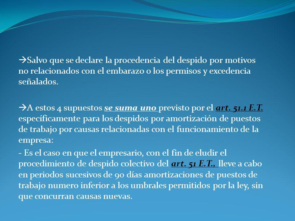Salvo que se declare la procedencia del despido por motivos no relacionados con el embarazo o los permisos y excedencia señalados. A estos 4 supuestos