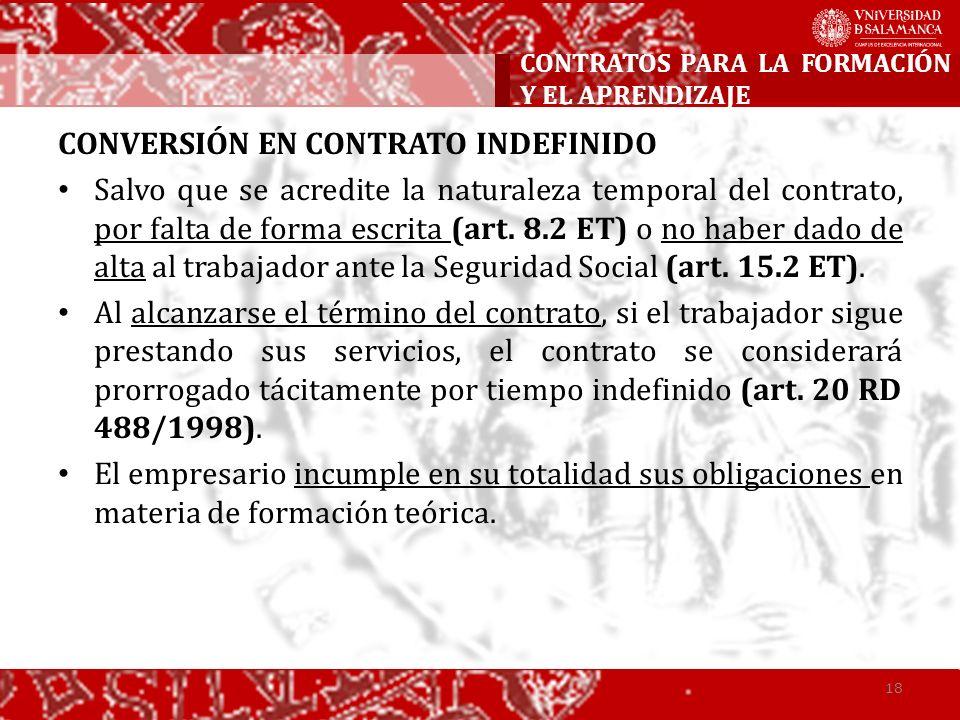 CONVERSIÓN EN CONTRATO INDEFINIDO Salvo que se acredite la naturaleza temporal del contrato, por falta de forma escrita (art. 8.2 ET) o no haber dado