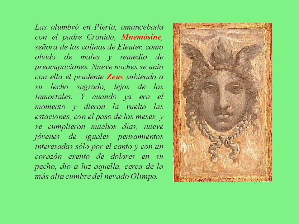 Como se les adoraba en el monte Helicón eran naturalmente asociadas con Dioniso y la poesía dramática, y por esto eran descritas como sus acompañantes, compañeras de juego o niñeras.