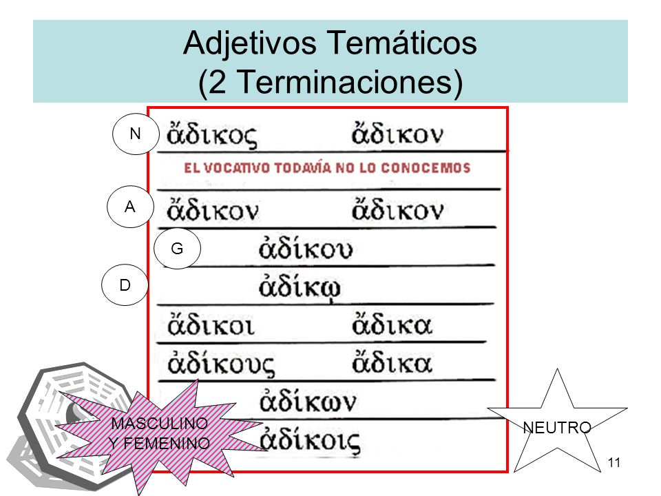 IAENUS11 Adjetivos Temáticos (2 Terminaciones) N A G D MASCULINO Y FEMENINO NEUTRO