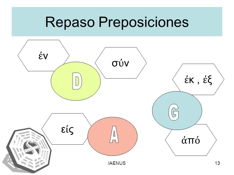 IAENUS13 Repaso Preposiciones ν σ ν κ, ξ ε ς π ι