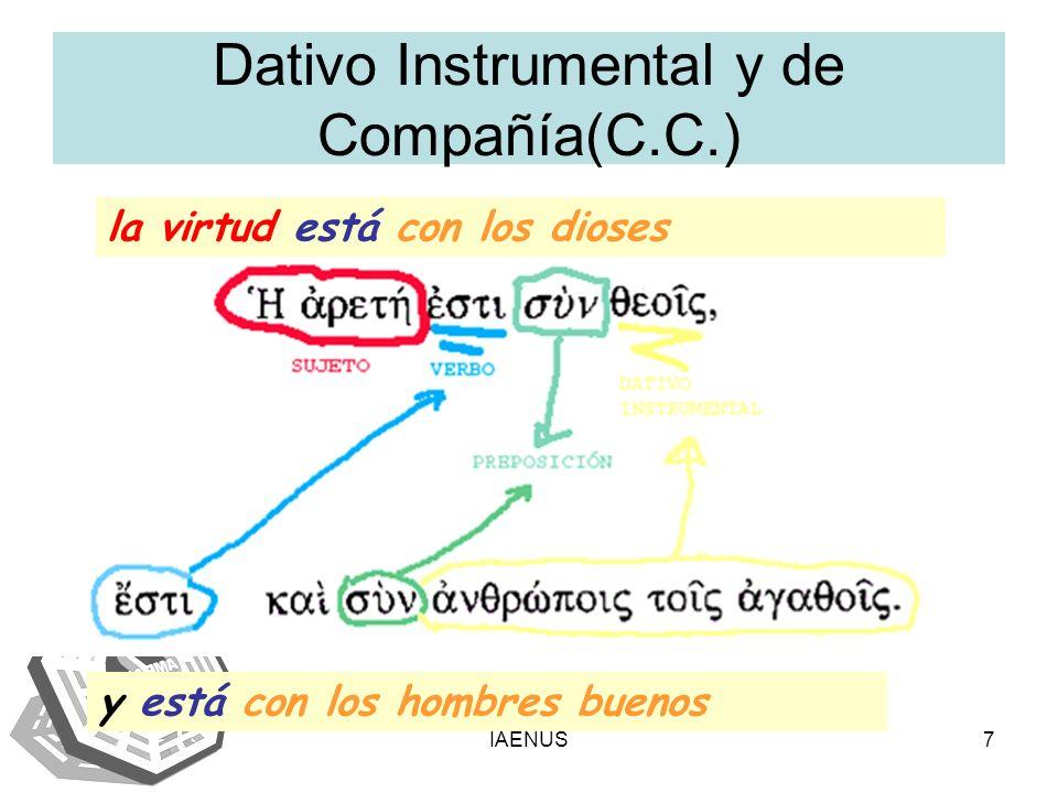 IAENUS7 Dativo Instrumental y de Compañía(C.C.) la virtud está con los dioses y está con los hombres buenos