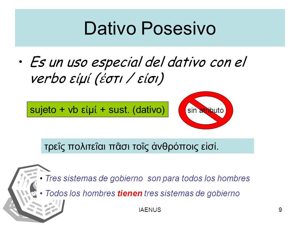 IAENUS9 Dativo Posesivo Es un uso especial del dativo con el verbo ε μ ( στι / ε σι) sujeto + vb ε μ + sust.