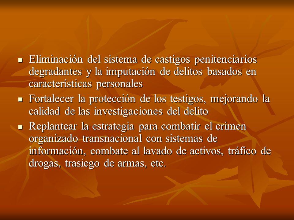 Eliminación del sistema de castigos penitenciarios degradantes y la imputación de delitos basados en características personales Eliminación del sistem