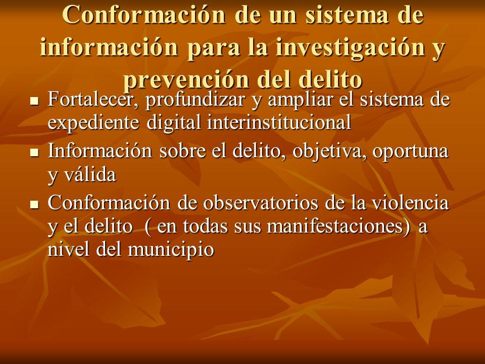 Conformación de un sistema de información para la investigación y prevención del delito Fortalecer, profundizar y ampliar el sistema de expediente dig