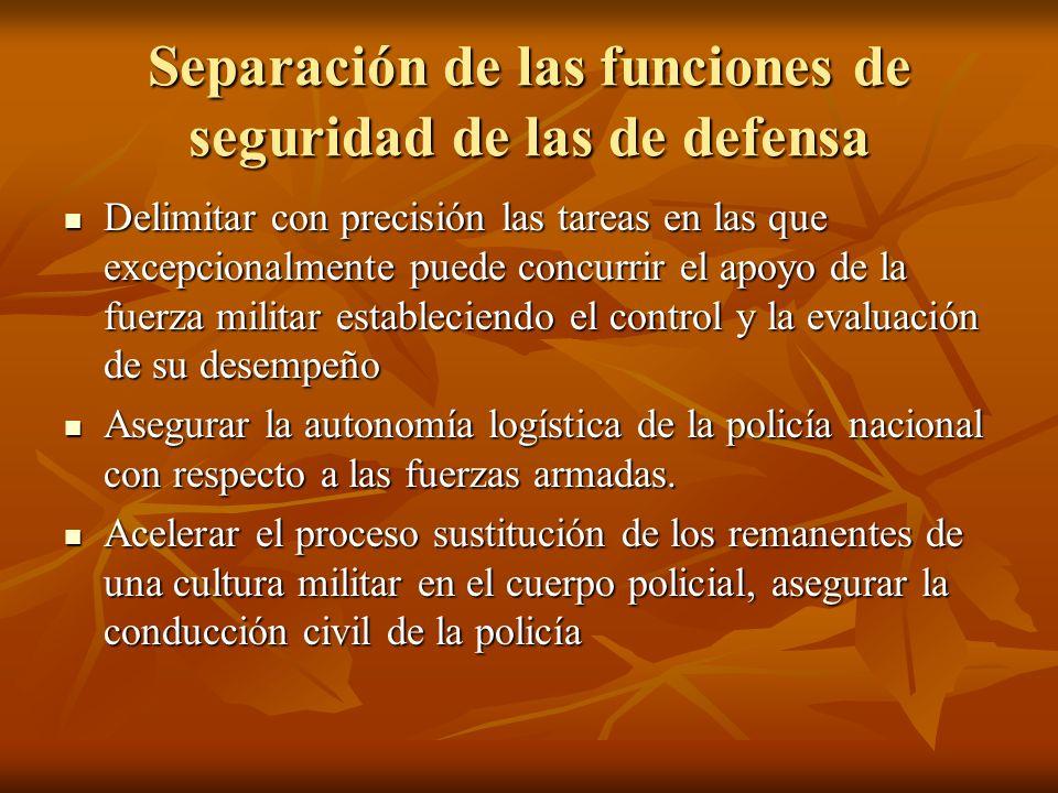 Separación de las funciones de seguridad de las de defensa Delimitar con precisión las tareas en las que excepcionalmente puede concurrir el apoyo de