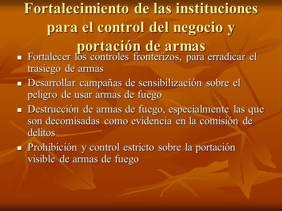 Fortalecimiento de las instituciones para el control del negocio y portación de armas Fortalecer los controles fronterizos, para erradicar el trasiego