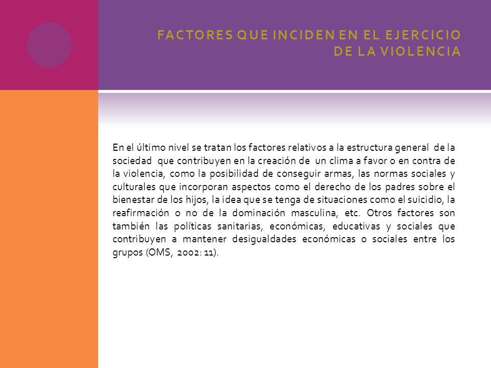 FACTORES QUE INCIDEN EN EL EJERCICIO DE LA VIOLENCIA En el último nivel se tratan los factores relativos a la estructura general de la sociedad que co