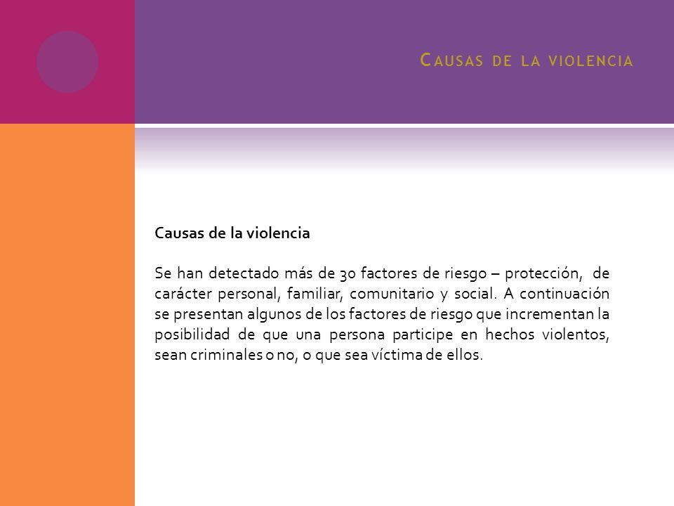 C AUSAS DE LA VIOLENCIA Causas de la violencia Se han detectado más de 30 factores de riesgo – protección, de carácter personal, familiar, comunitario