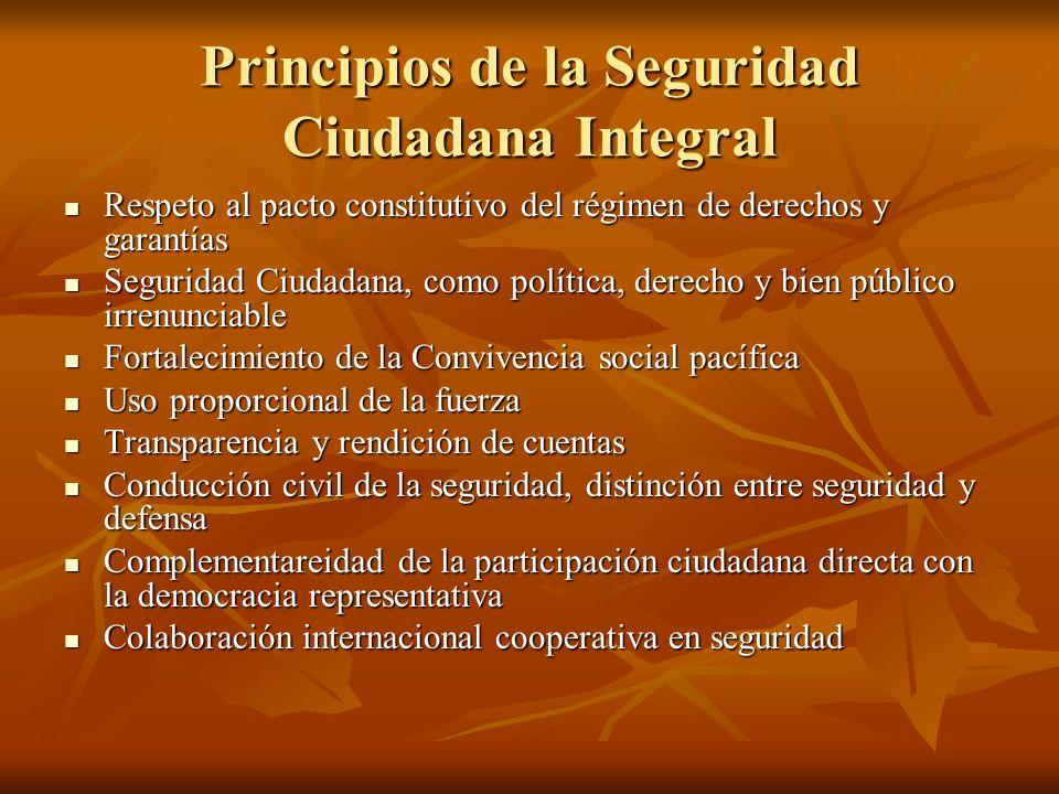 Principios de la Seguridad Ciudadana Integral Respeto al pacto constitutivo del régimen de derechos y garantías Respeto al pacto constitutivo del régi