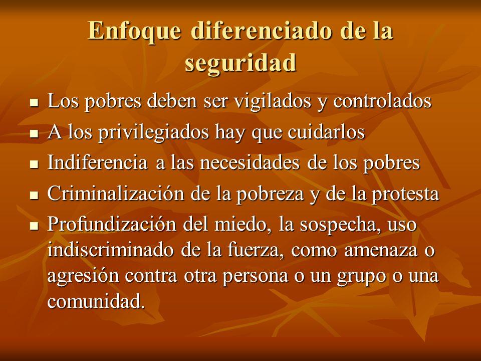 Enfoque diferenciado de la seguridad Los pobres deben ser vigilados y controlados Los pobres deben ser vigilados y controlados A los privilegiados hay