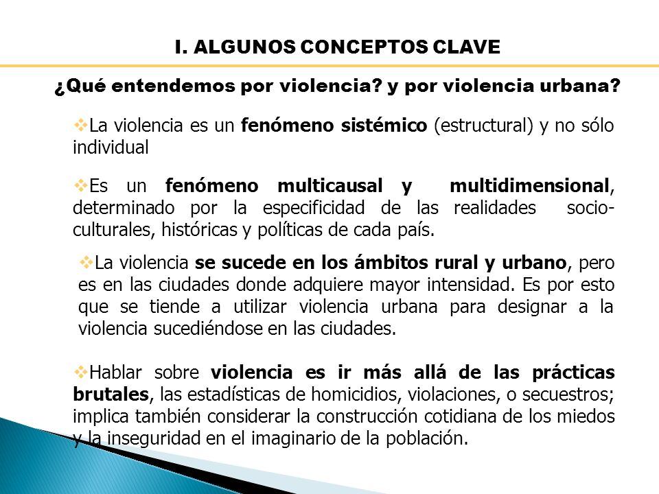 I.ALGUNOS CONCEPTOS CLAVE ¿Qué entendemos por violencia.